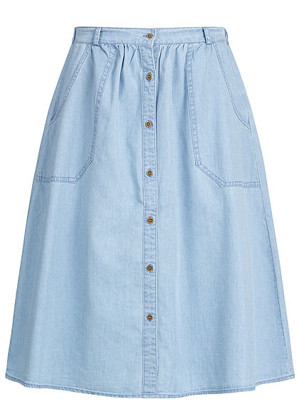 Hailys Damen Denim Midi Skirt Buttons Front 2-Pockets hell blau