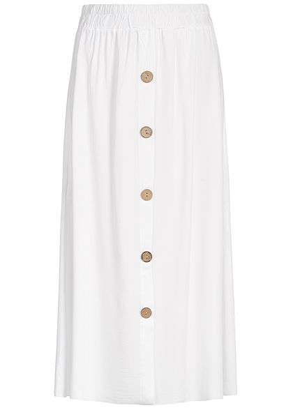 Hailys Damen Buttons Front Midi Skirt weiss