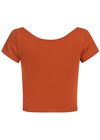 ONLY Damen Cropped T-Shirt arabian spice braun