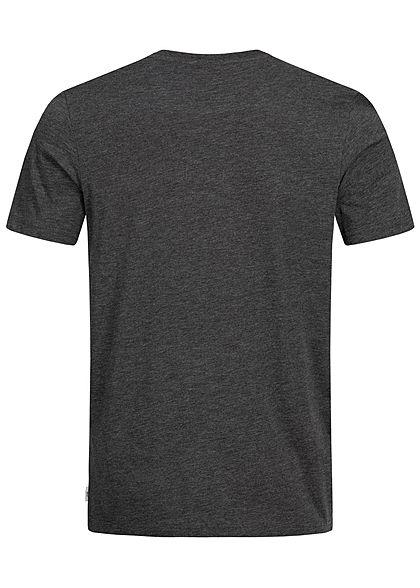 Jack and Jones Herren Melange T-Shirt Front Print schwarz