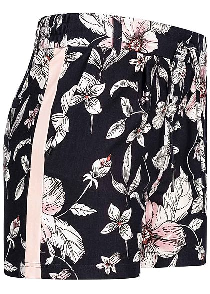ONLY Damen Poptrash Shorts Flower Print 2-Pockets schwarz rosa