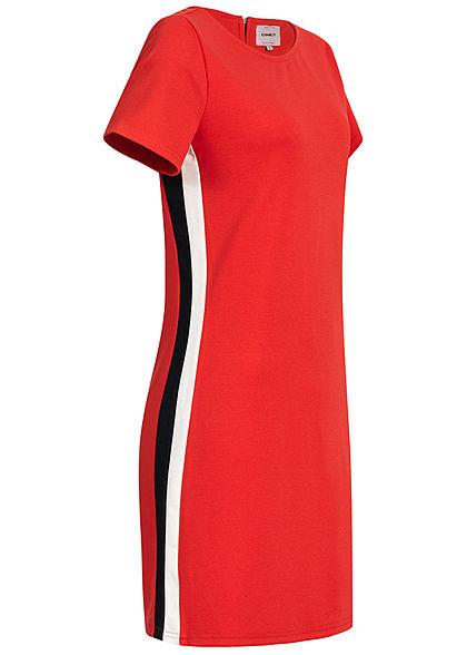 361f6313daa0ab ONLY Damen Stripe Bodycon T-Shirt Dress Zipper high risk rot weiss -  77onlineshop
