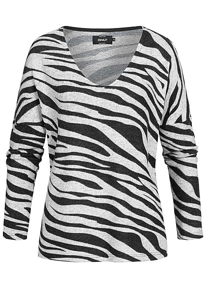 ONLY Damen Soft Touch Sweater Zebra Print hell grau schwarz