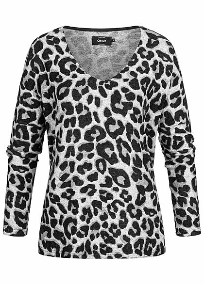 ONLY Damen Soft Touch Sweater Leo Print hell grau schwarz