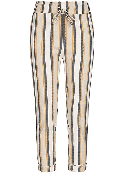 Hailys Damen Stripe Soft Belted Trousers 2-Pockets beige braun grau