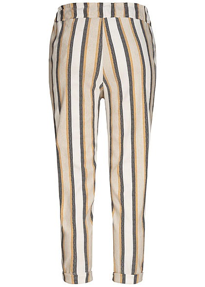 Hailys Damen Stripe Soft Belted Trousers 2-Pockets beige braun grau