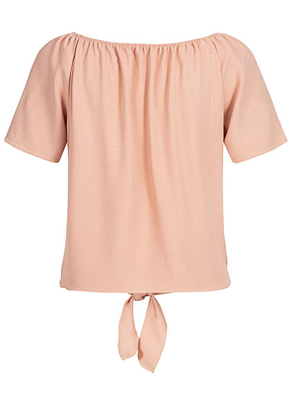 Hailys Damen Off-Shoulder Bluse Bindedetail vorne Deko Knopfleiste rosa