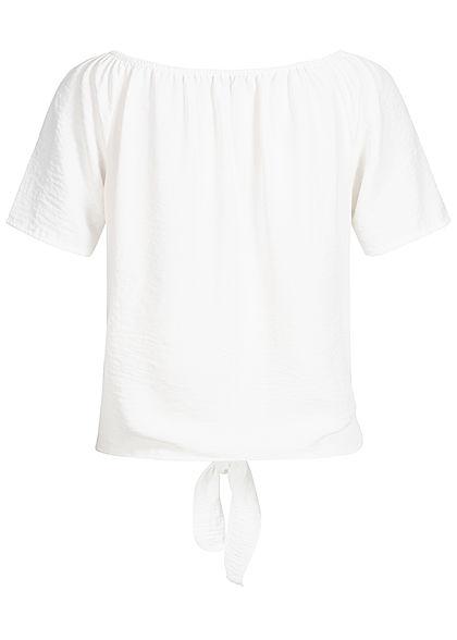 Hailys Damen Off-Shoulder Blusen Shirt Bindedetail vorne Deko Knopfleiste off weiss