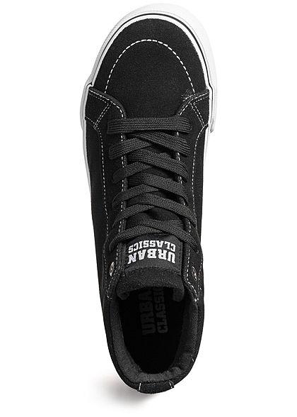 Seventyseven Lifestyle Herren Schuh High Canvas Sneaker Wildleder Optik schwarz weiss