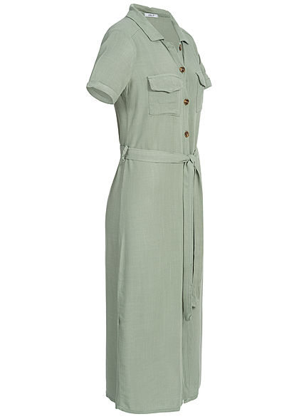 Hailys Damen Dress Buttons Front Belt khaki