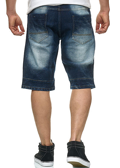 Southpole Herren Biker Denim Bermuda Shorts 5-Pockets dunkel sand blau