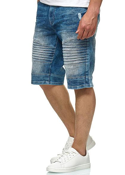 Southpole Herren Biker Denim Bermuda Shorts 5-Pockets hell sand blau