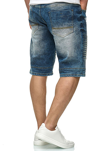 Southpole Herren Biker Denim Bermuda Shorts 5-Pockets medium sand blau