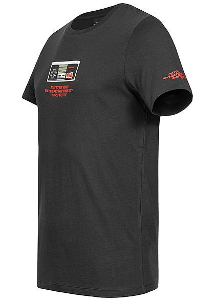 Jack and Jones Herren T-Shirt Nintendo Patch schwarz rot