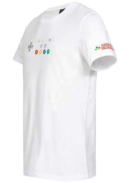 Jack and Jones Herren T-Shirt Nintendo Controller weiss