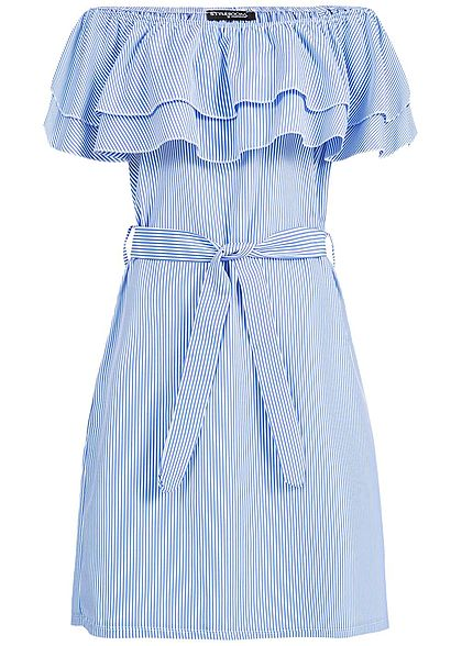 Styleboom Fashion Damen Striped Off-Shoulder Volant Dress Belt blau weiss
