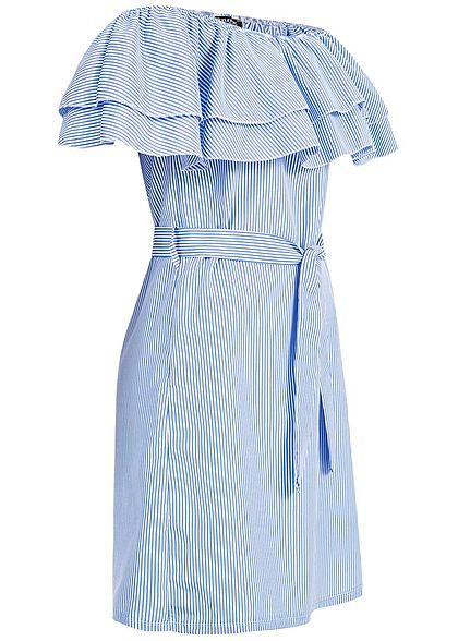 Styleboom Fashion Damen Striped Off-Shoulder Volant Dress Belt blau weiss