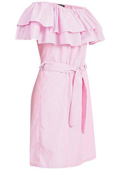 Styleboom Fashion Damen Striped Off-Shoulder Volant Dress Belt rosa weiss