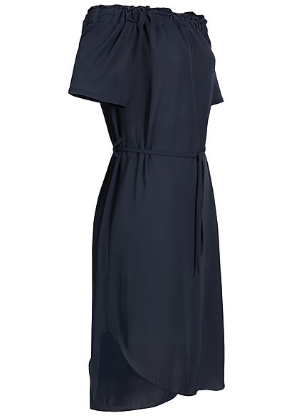 Styleboom Fashion Damen Off-Shoulder Volant Dress Belt navy blau