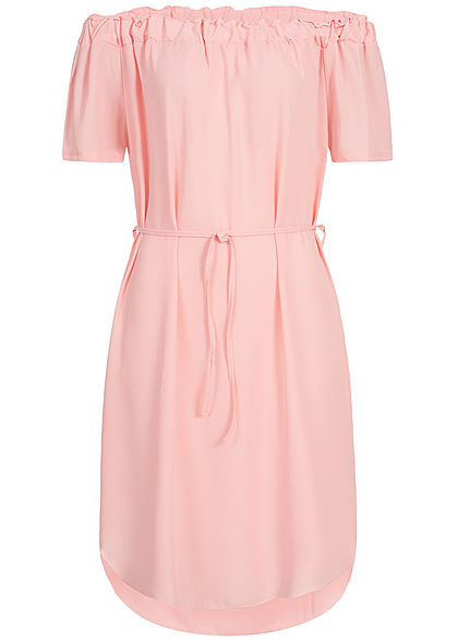 Styleboom Fashion Damen Off-Shoulder Volant Dress Belt rosa
