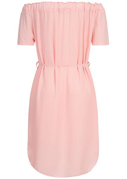 Styleboom Fashion Damen Off-Shoulder Volant Dress Belt rosa