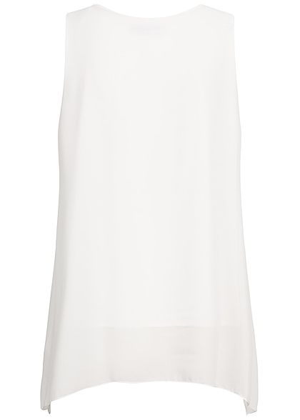 Styleboom Fashion Damen 2-Layer Chiffon Top Feather Print weiss grau rosa