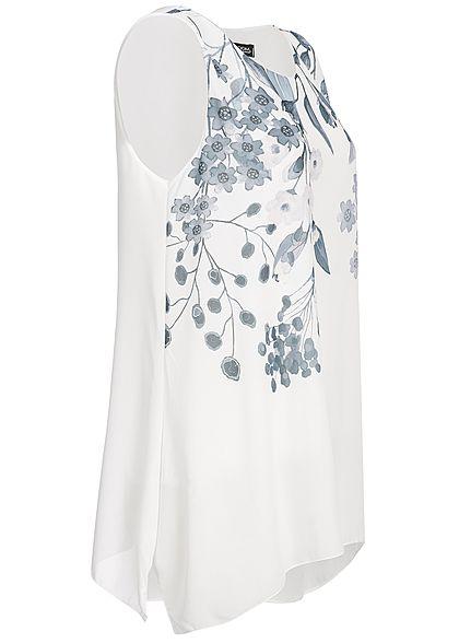 Styleboom Fashion Damen 2-Layer Chiffon Top Flower Print weiss grau