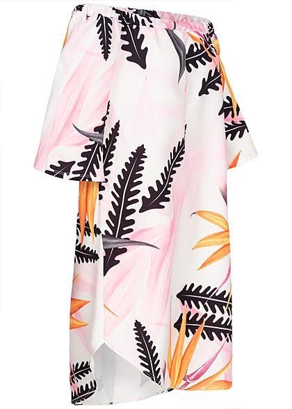 Styleboom Fashion Damen Off-Shoulder Dress Magnolia Print weiss multicolor