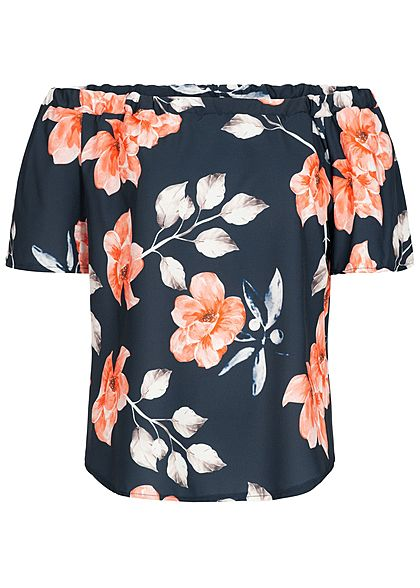 Styleboom Fashion Damen Off-Shoulder Chiffon Shirt Flower Print navy blau