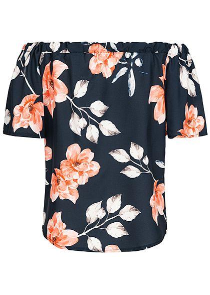 Styleboom Fashion Damen Off-Shoulder Chiffon Shirt Flower Print navy blau