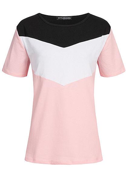 3f4587b4f3 Styleboom Fashion Damen Arrow Colorblock T-Shirt rosa weiss schwarz -  77onlineshop