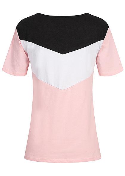 Styleboom Fashion Damen Arrow Colorblock T-Shirt rosa weiss schwarz