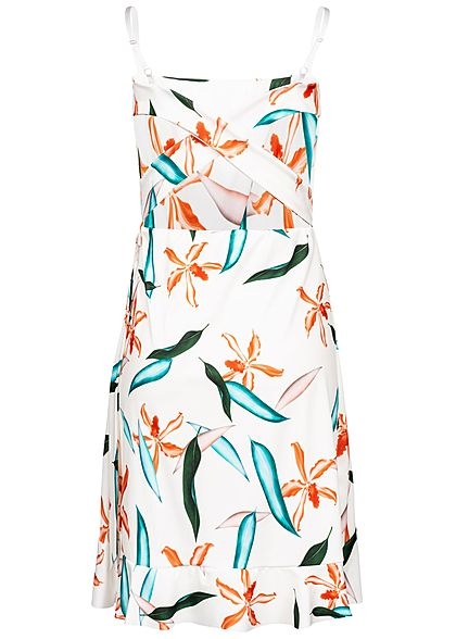 Styleboom Fashion Damen Mini Strap Dress Bow Tropical Print weiss