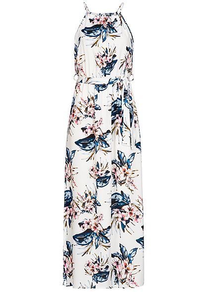Styleboom Fashion Damen Maxi Strap Dress Flower Print weiss blau rosa