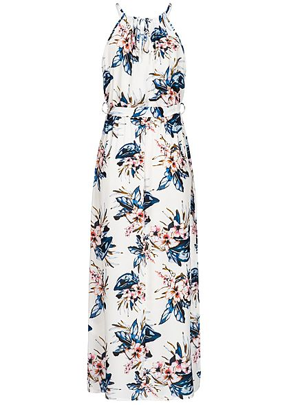 Styleboom Fashion Damen Maxi Strap Dress Flower Print weiss blau rosa