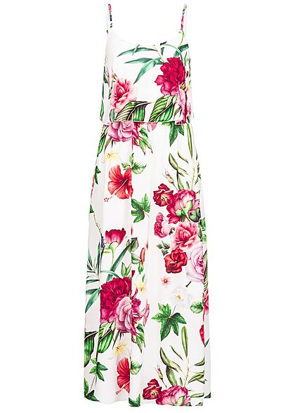 Styleboom Fashion Damen Volant Maxi Strap Dress Flower Print weiss multicolor - Art.-Nr.: 19056356