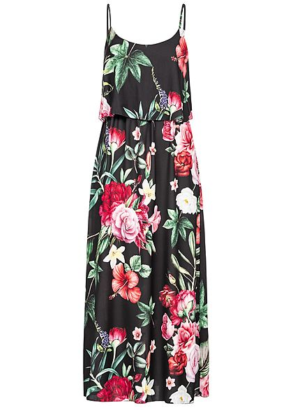 Styleboom Fashion Damen Volant Maxi Strap Dress Flower Print schwarz  multicolor - Art.-Nr.: 19056357