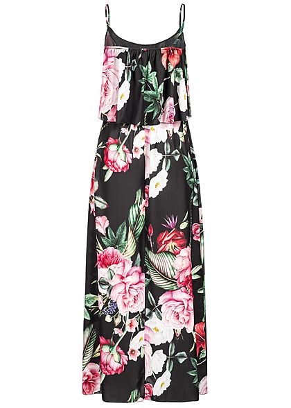 Styleboom Fashion Damen Volant Maxi Strap Dress Flower Print schwarz  multicolor