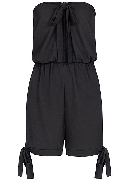 Styleboom Fashion Damen Off-Shoulder Bow Jumpsuit schwarz