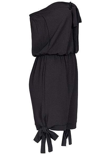 Styleboom Fashion Damen Off-Shoulder Bow Jumpsuit schwarz