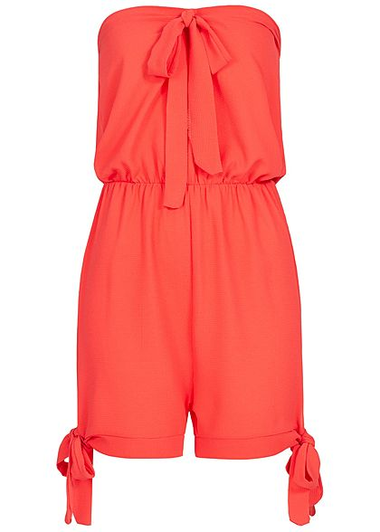 Styleboom Fashion Damen Off-Shoulder Bow Jumpsuit coral pink