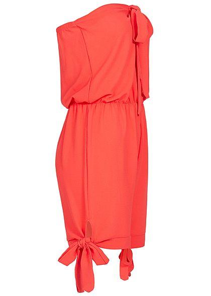 Styleboom Fashion Damen Off-Shoulder Bow Jumpsuit coral pink