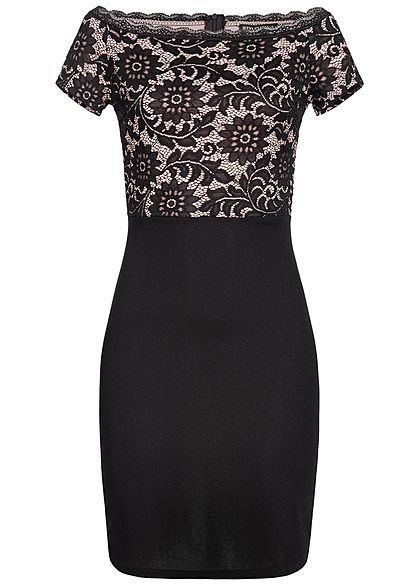 Styleboom Fashion Damen Off-Shoulder Lace Dress schwarz rosa