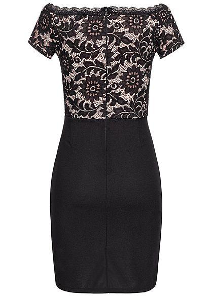 Styleboom Fashion Damen Off-Shoulder Lace Dress schwarz rosa