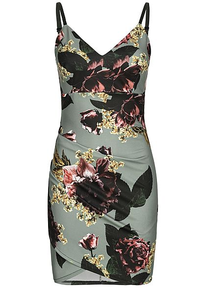 Styleboom Fashion Damen Adjustable Strap Mini Dress Flower Print grau