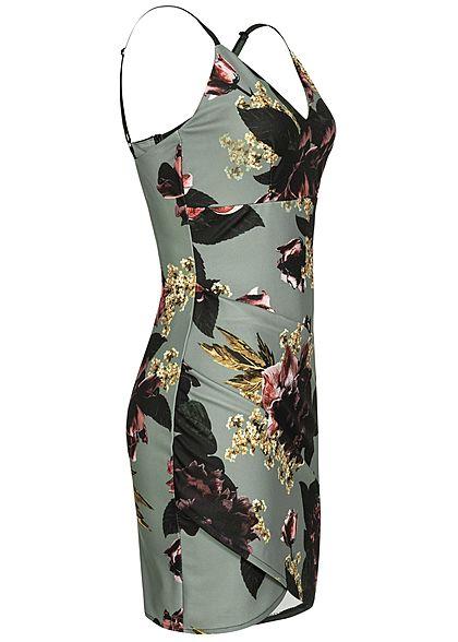 Styleboom Fashion Damen Adjustable Strap Mini Dress Flower Print grau