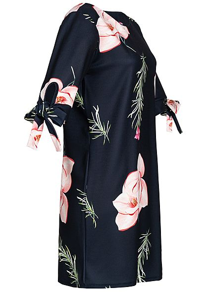 Styleboom Fashion Damen Bow Sleeve Dess Flower Print navy blau