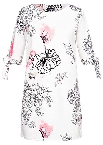 Styleboom Fashion Damen Bow Sleeves Dress Flower Print weiss schwarz rosa - Art.-Nr.: 19056366