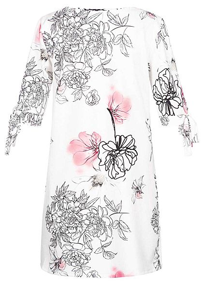 Styleboom Fashion Damen Bow Sleeves Dress Flower Print weiss schwarz rosa