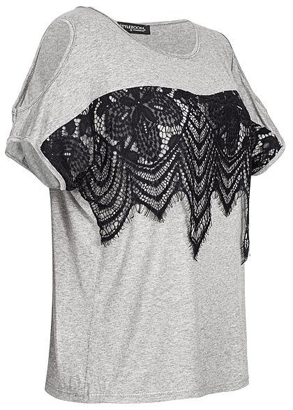 Styleboom Fashion Damen 2-Tone Shirt Lace Detail grau schwarz